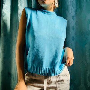 Vintage high neck blue knit